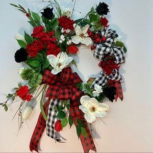 Buffalo Plaid Designer Year Round Farmhouse Wreath